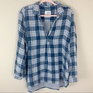 Sonoma Plaid V-neck Blouse Size XL